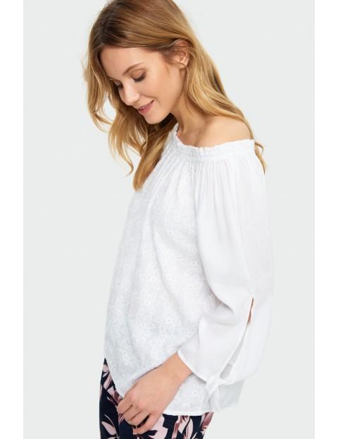 Bluzka damska biała typu carmen