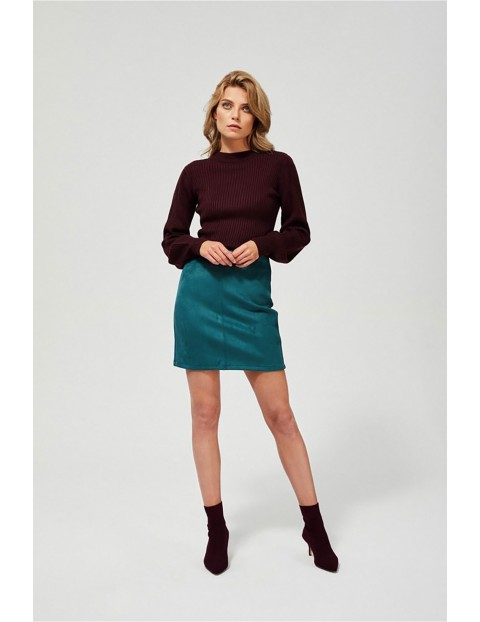Luźny sweter damski - bordowy
