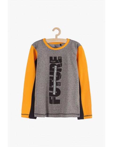 Bluzka chłopięca szara z pomarańczowymi rękawami Future