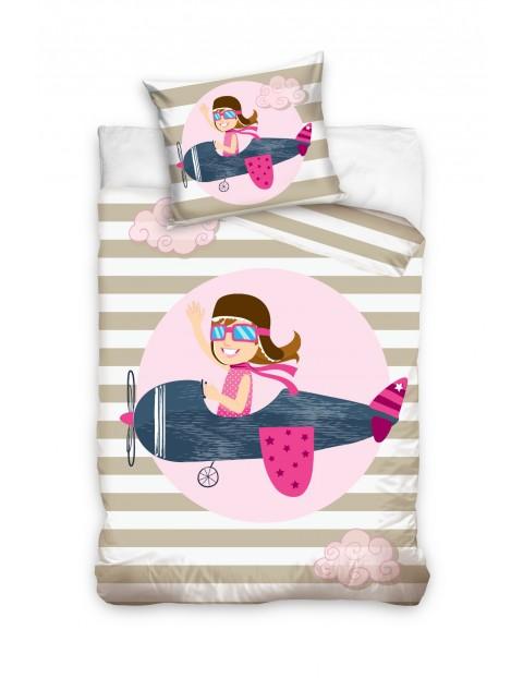 Komplet pościeli bawełnianej dla niemowlaka Samolot 100x135+40x60cm