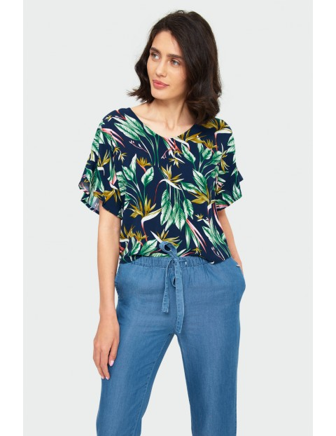 Granatowa bluzka  damska na krótki rękaw w liście