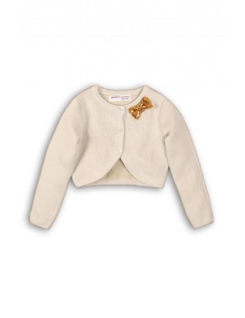 Elegancki sweter dziewczęcy ze złotą cekinową kokardką