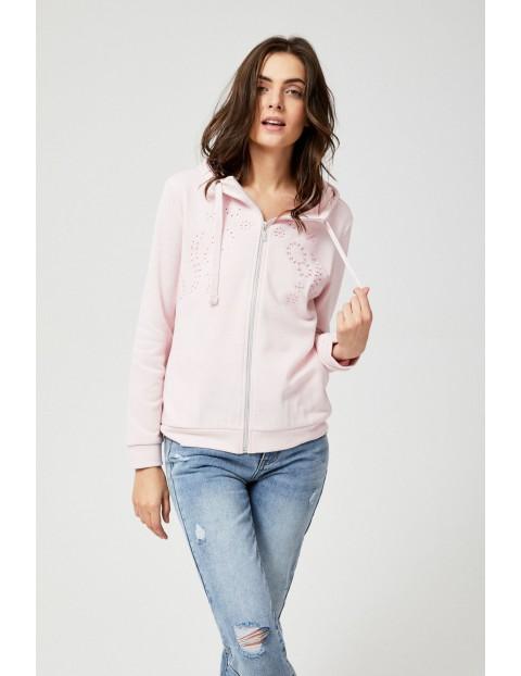 Bluza dresowa  damska z kapturem - różowa