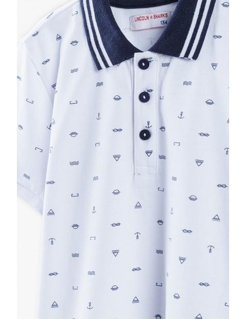 Bluzka chłopięca biała z granatowym kołnierzykiem w marynarskie wzory