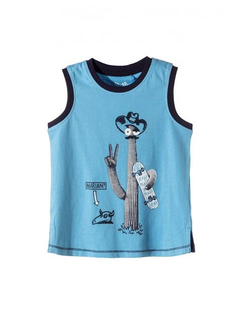 Bluzka na ramiączka dla chłopca- niebieska z kaktusem
