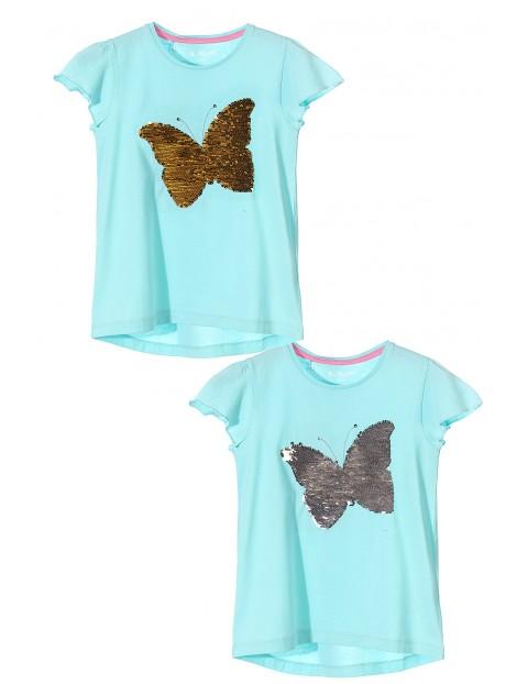 T-shirt dziewczęcy z dwustronnymi cekinami-motyl