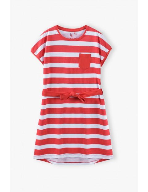 Sukienka dziecięca w paski biało -czerwone