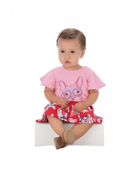 Spodnica i t-shirt komplet dzianinowych ubrań dla dziewczynki