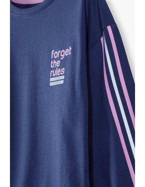 Granatowa bluzka dziewczęca z napisem Forget the rules