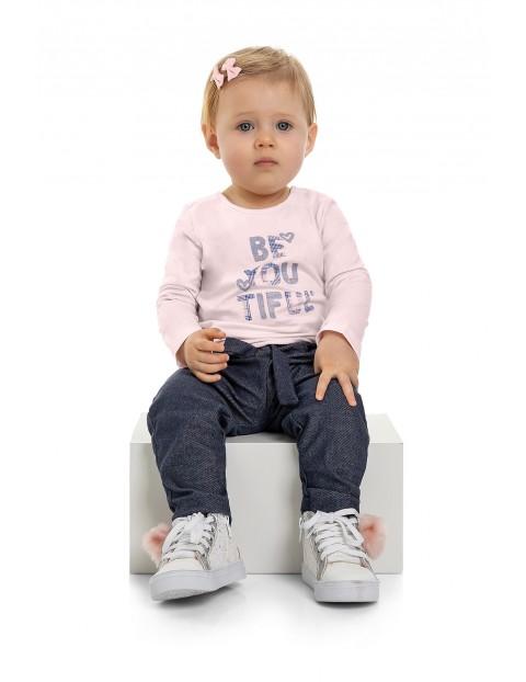 Bluzka niemowlęca z napisami - różowa