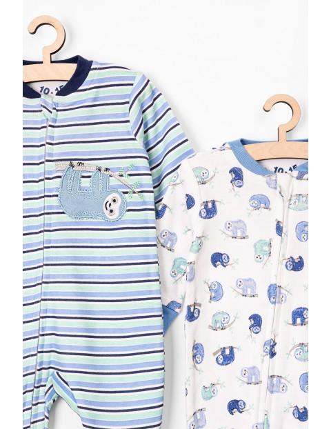 Pajac niemowlęcy niebieski w leniwce- dwupak