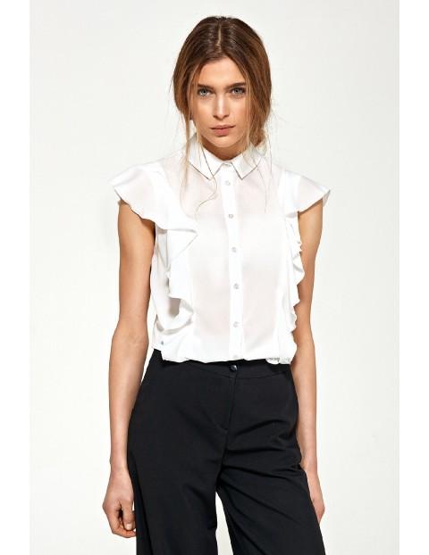Bluzka damska z krótkim rękawem i falbanami ecru
