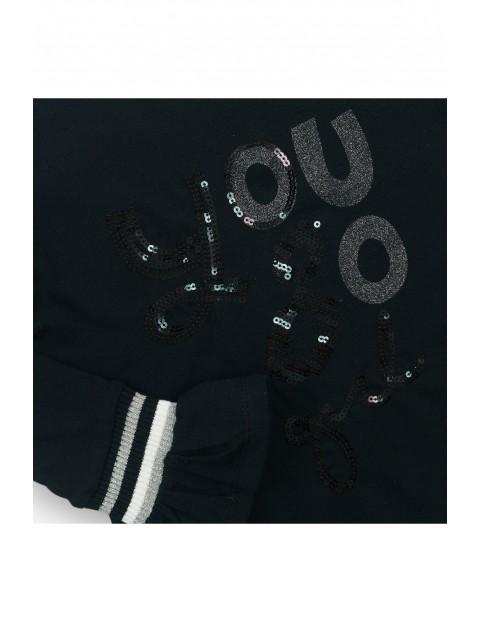 Bluzka z długim rękawem dziewczęca czarna z napisem