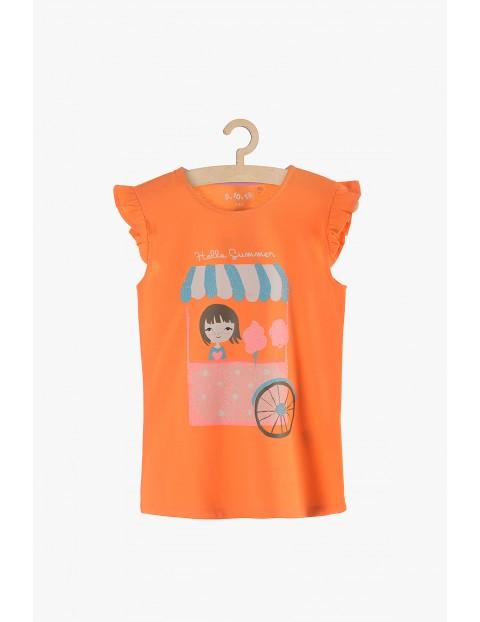 Koszulka dziewczęca pomarańczowa- Hello Summer