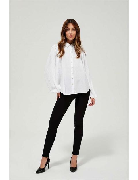 Koszula damska biała z bufiastymi rękawami