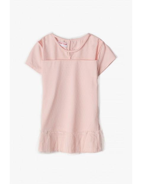 T- shirt dziewczęcy dzianinowy różowy z tiulową falbanką