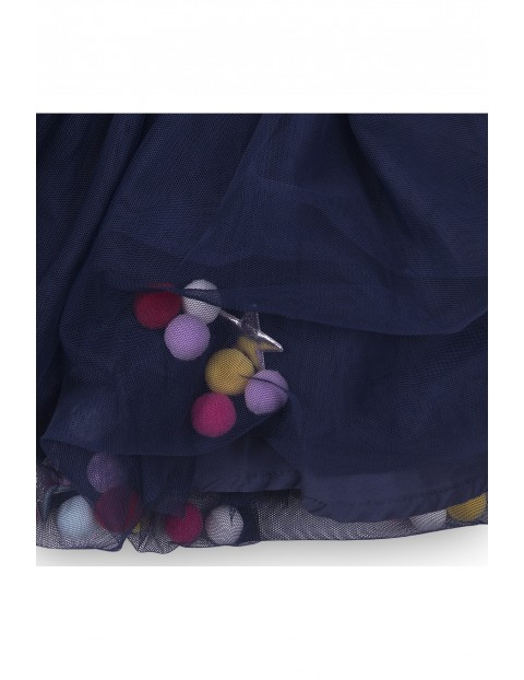 Spódnica tiulowa dziewczęca z pomponami- granatowa