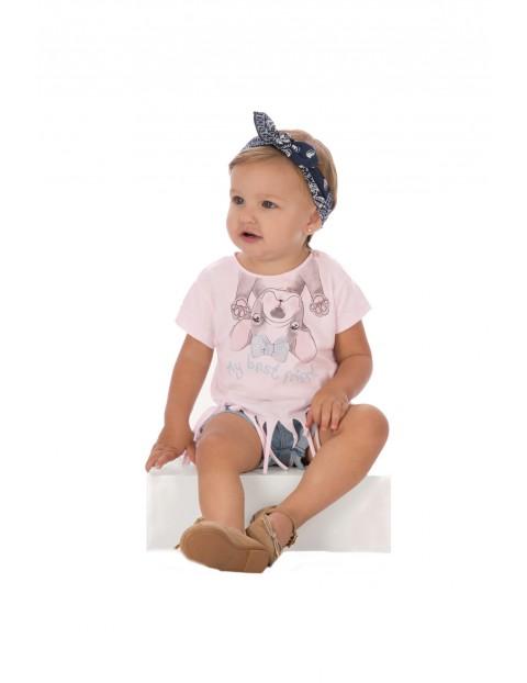 Różowy t-shirt dla niemowlaka z ozdobnymi frędzlami