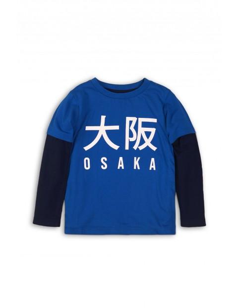 Bluzka chłopięca  z napisami - niebieska