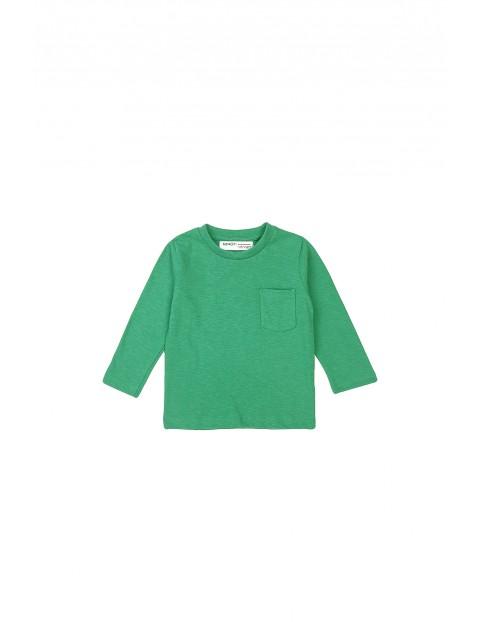 Bluzka chłopięca bawełniana z kieszonką - zielona