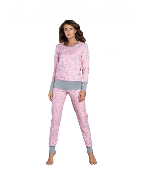 Piżama damska w lamy - długi rękaw i długie spodnie - różowa