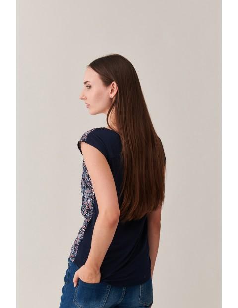 Wzorzysta bluzka damska - krótki rękaw Tatuum