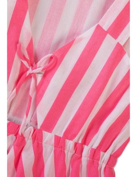 Rozkloszowana sukienka w biało różowe paski