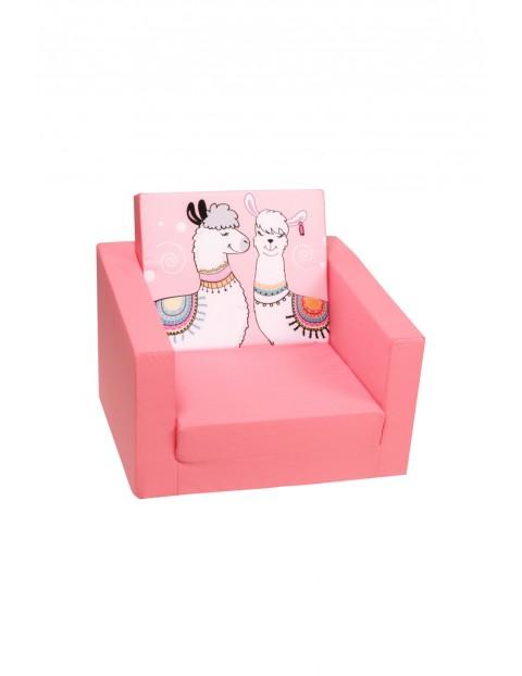 Rozkładany fotelik piankowy dla dziewczynki Delsit Lamy-różowy