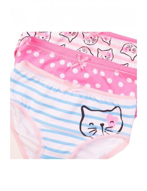 Majtki dziewczęce różowe w koty 3pak rozm 86/92