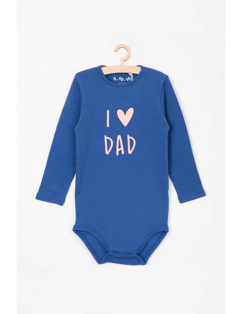 Niebieskie body z długim rękawem- I love dad