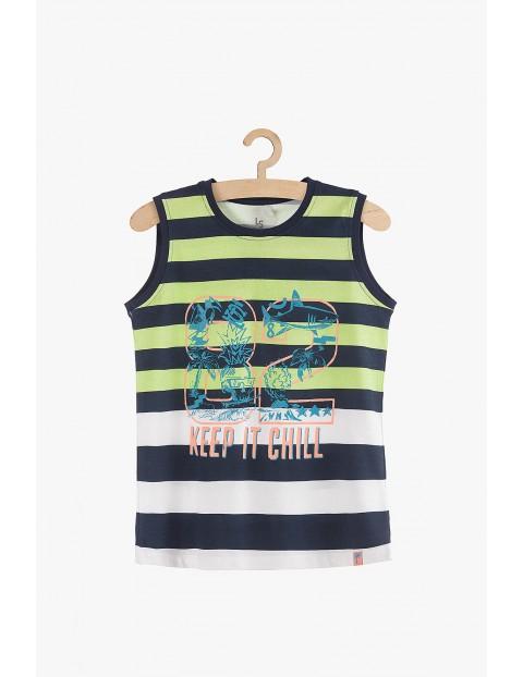 Koszulka chłopięca na lato w paski- 100% bawełna