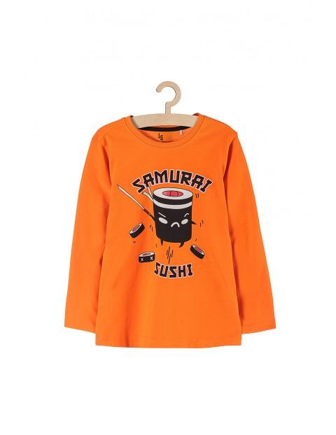 Bluzka chłopięca pomarańczowa z napisem- Samurai sushi