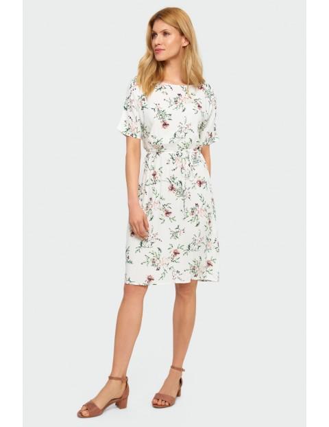Wiskozowa sukienka w kwiaty- biała