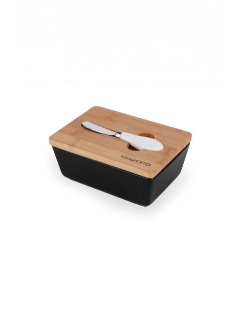 Maselnica z bambusową pokrywką i nożykiem - czarna