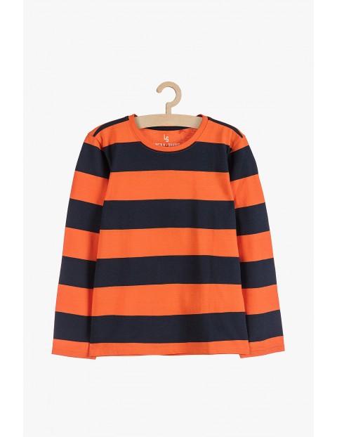 Bawełniana bluzka z długim rękawem- czarno pomarańczowe pasy