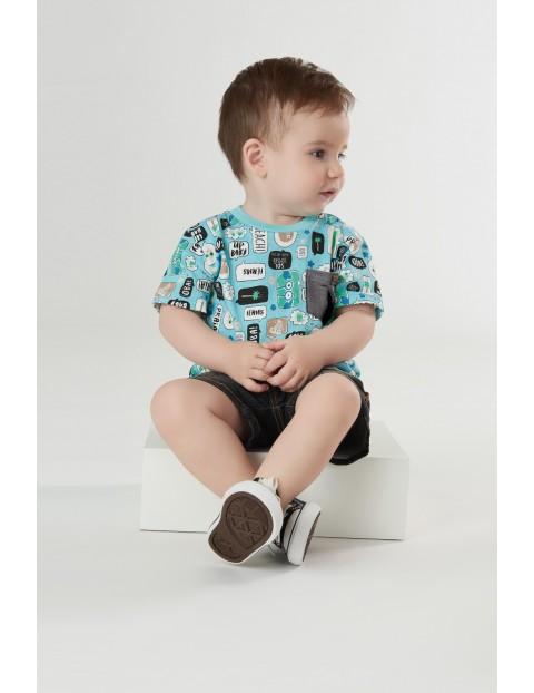 Koszulka niemowlęca we wzorki - niebieska
