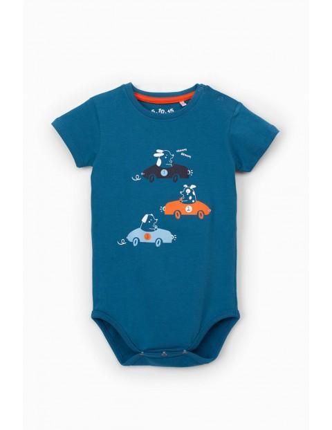Niebieskie body niemowlęce z krótkim rękawem