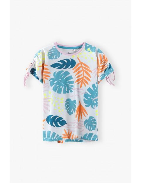 T-shirt dziewczęcy - kolorowe liście