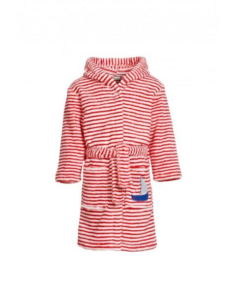 Szlafrok dla dziecka w biało czerwone paski
