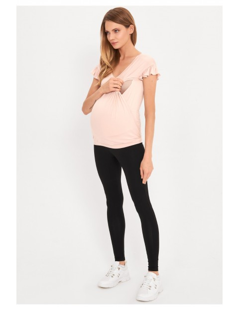 T-shirt ciążowy i dla karmiącej w kolorze pudrowego różu