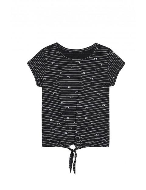 Bawełniany czarny t-shirt  damski na krótki rękaw z ozdobnym wiązaniem