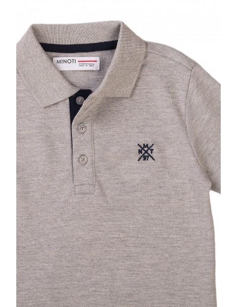 Bawełniany T-shirt niemowlęcy z kołnierzykiem-szary