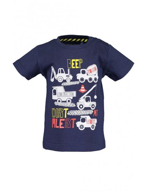 Koszulka chłopięca granatowa z pojazdami