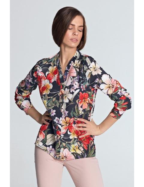 Granatowa bluzka damska w kwiaty ze złotymi napami