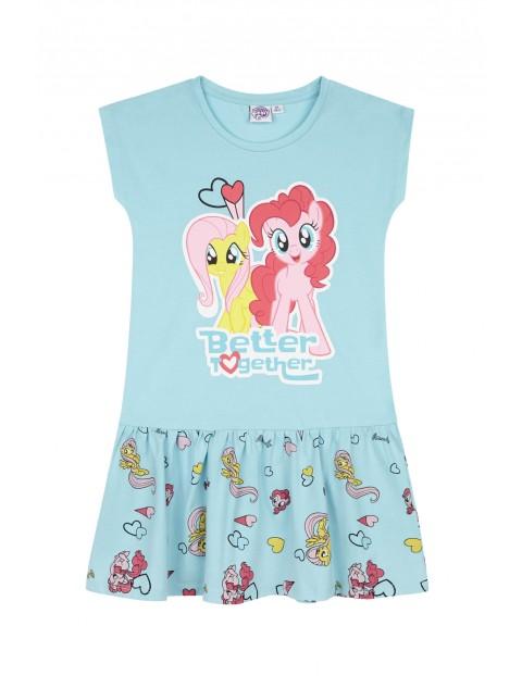 Sukienka dziewczęca na lato Pony- niebieska