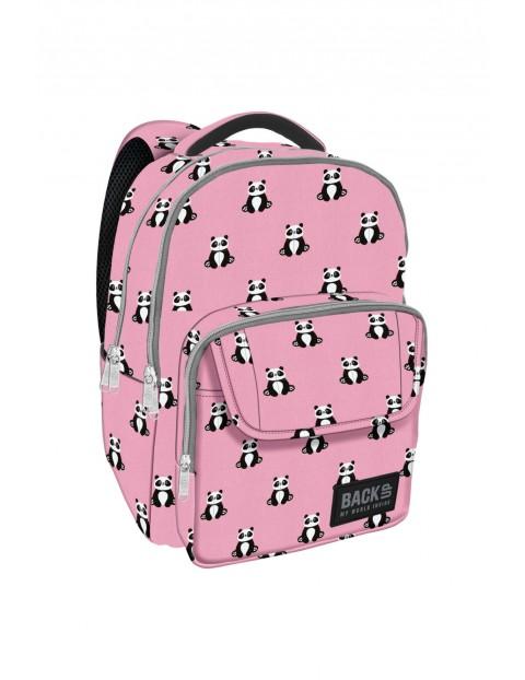 Plecak dziewczęcy różowy w pandy- 3komory