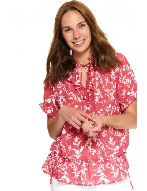 Bluzka damska  z falbankami w kolorze różowym w białe kwiaty
