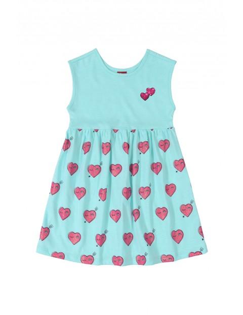 Sukienka dziecięca w różowe serduszka - niebieska
