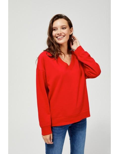 Czerwona bluza damska z dekoltem w serek