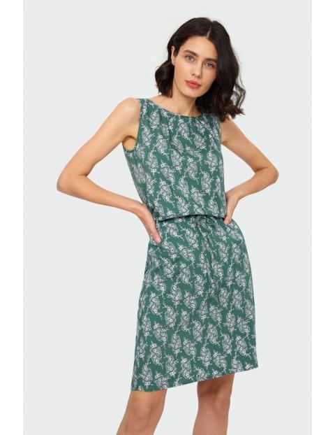 Wiskozowa sukienka z roślinnym nadrukiem zielona